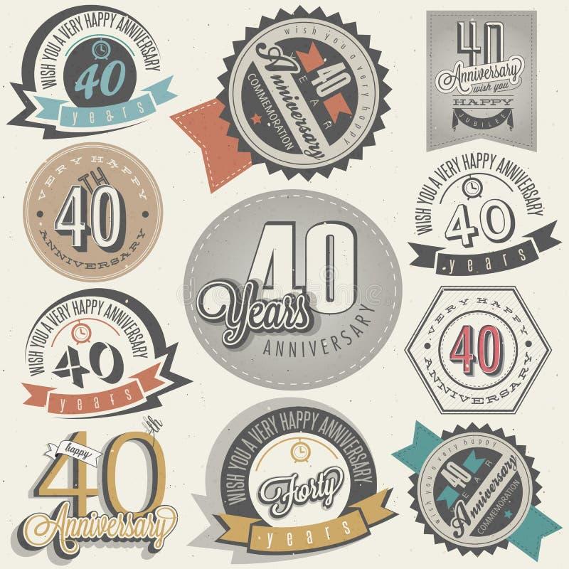 Collection d'anniversaire du style 40 de vintage. illustration stock