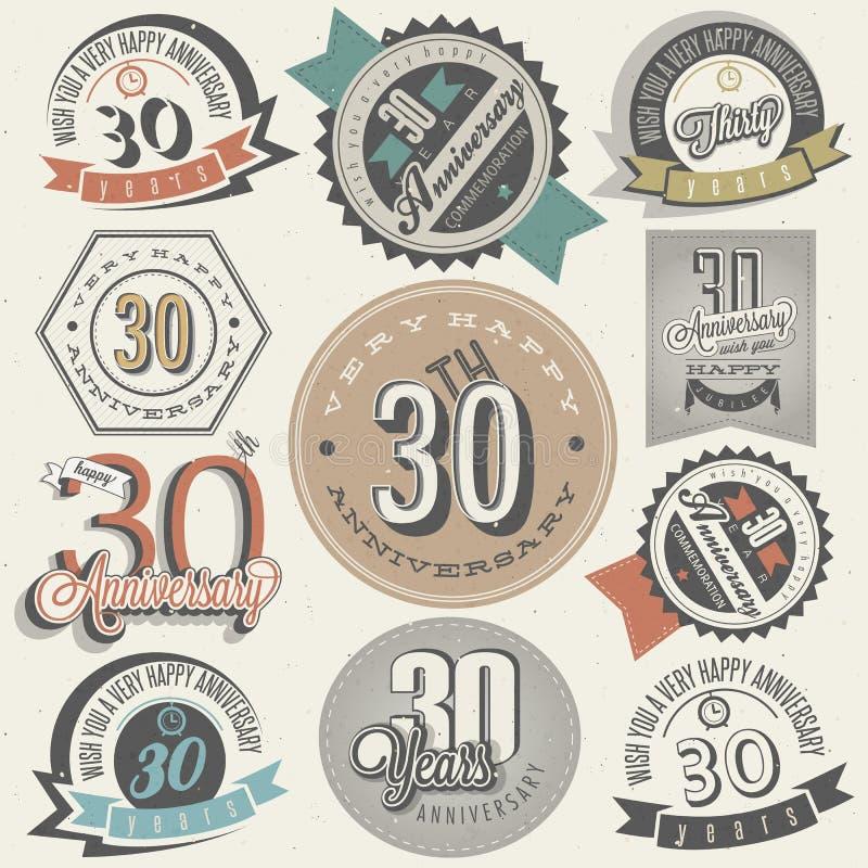 Collection d'anniversaire du style 30 de vintage. illustration libre de droits