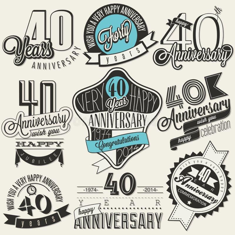 Collection d'anniversaire du style 40 de vintage illustration libre de droits