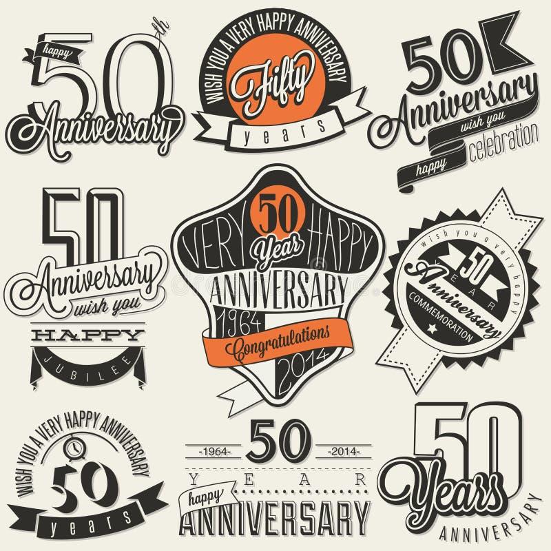 Collection d'anniversaire du style 50 de vintage illustration stock