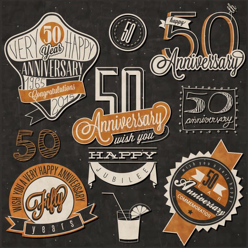 Collection d'anniversaire du style 50 de vintage illustration libre de droits