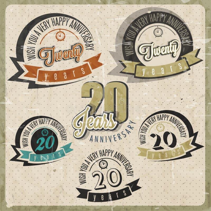 Collection d'anniversaire du vintage 20. illustration libre de droits
