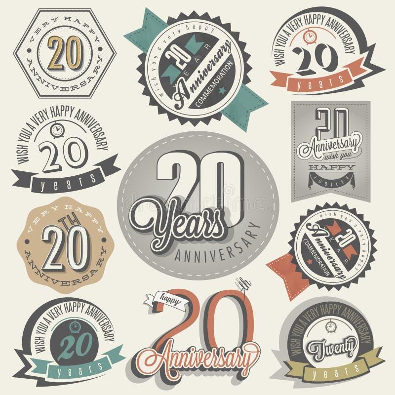 Collection d'anniversaire du vintage 20. illustration stock