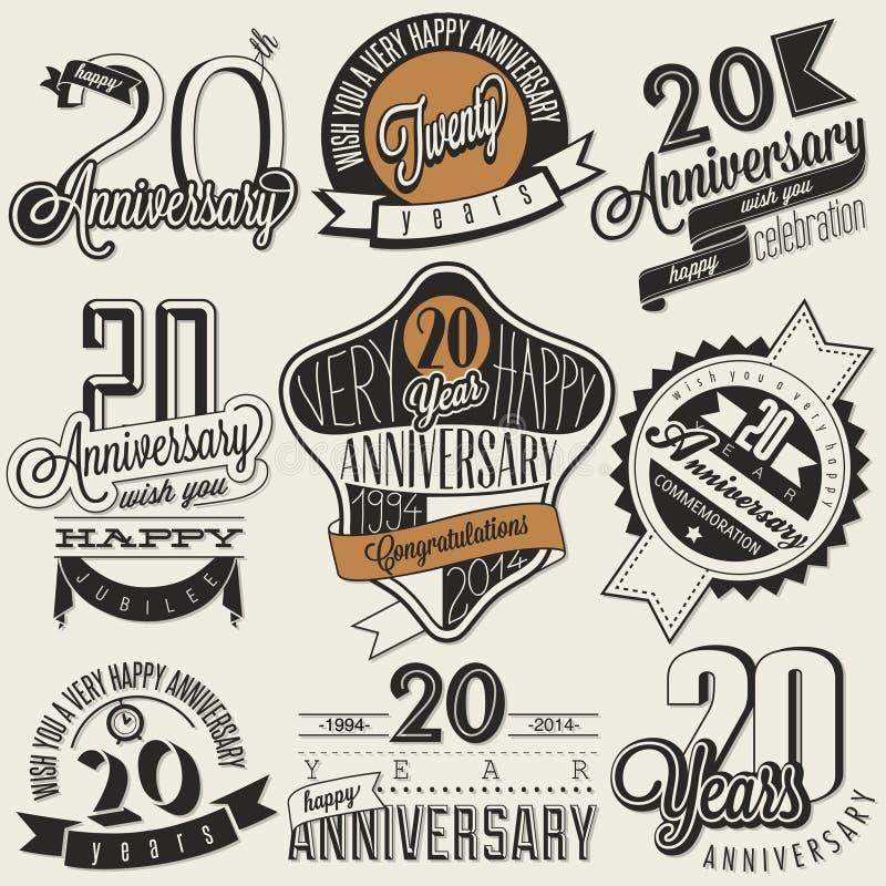 Collection d'anniversaire du vintage 20 illustration libre de droits