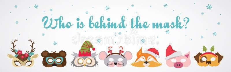Collection d'appui verticaux animaux de cabine de masques d'hiver et de photo de Noël pour des enfants Masques et éléments mignon illustration de vecteur