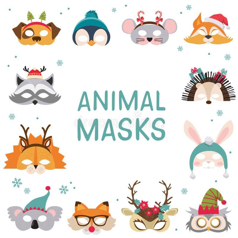 Collection d'appui verticaux animaux de cabine de masques d'hiver et de photo de Noël pour des enfants Masques et éléments mignon illustration libre de droits