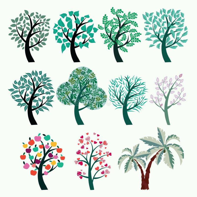 Collection d'arbres verts Ensemble d'arbres stylisés abstraits illustration de vecteur