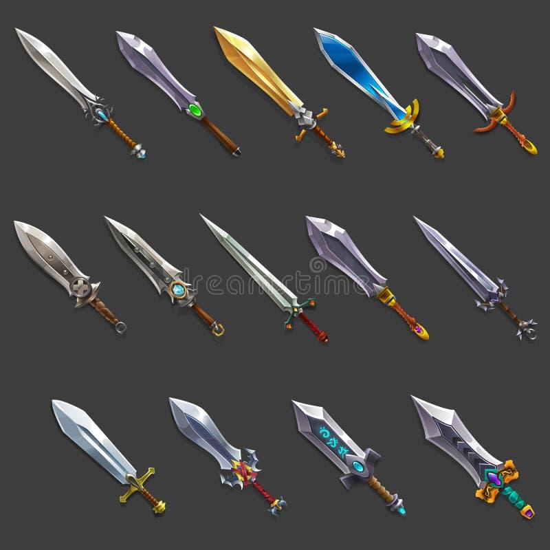 Collection d'arme de décoration pour des jeux Ensemble d'épées médiévales de bande dessinée illustration libre de droits