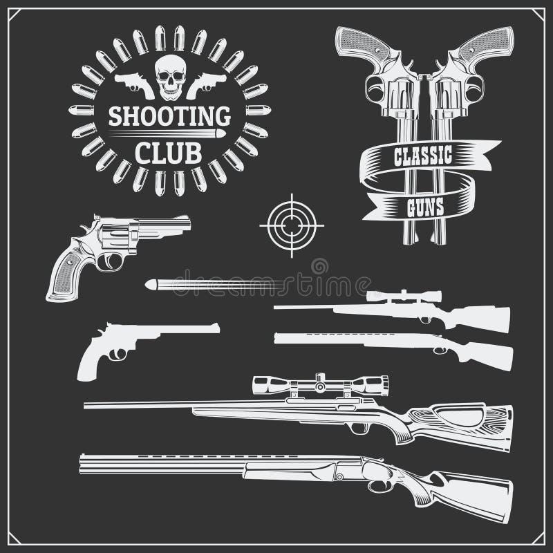 Collection d'armes à feu Revolvers, fusils de chasse et fusils Labels de club d'arme à feu et éléments de conception illustration stock