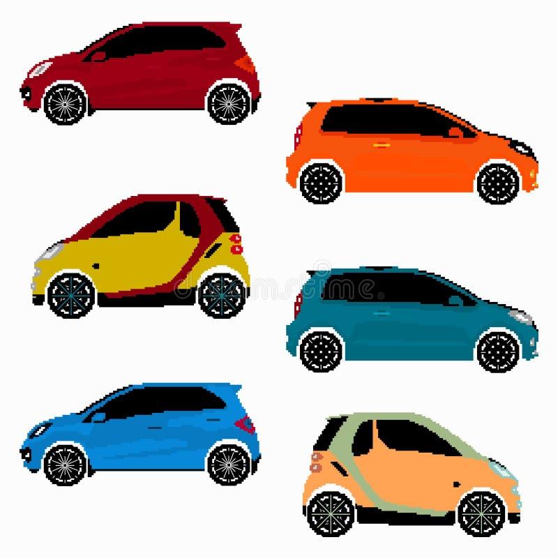 Collection d'art coloré de pixel de vecteur de voitures illustration de vecteur