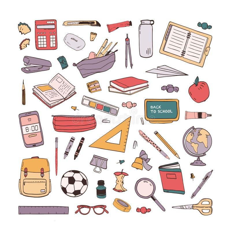 Collection d'articles de papeterie d'école tirés par la main sur le fond blanc Ensemble de dessins des approvisionnements d'éduca illustration de vecteur