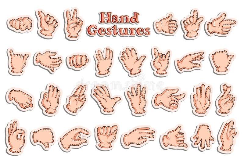 Collection d'autocollant pour des gestes de main illustration libre de droits