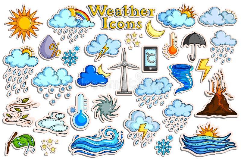 Collection d'autocollant pour l'icône de prévisions météorologiques illustration libre de droits