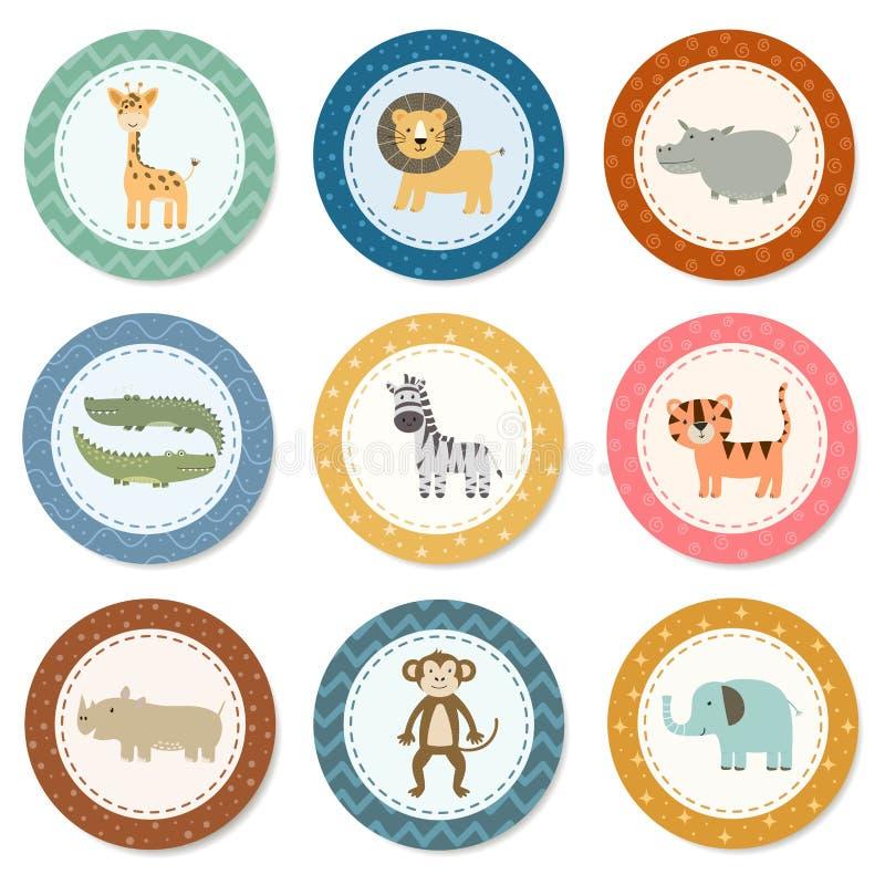 Collection d'autocollants avec les animaux mignons de safari illustration stock