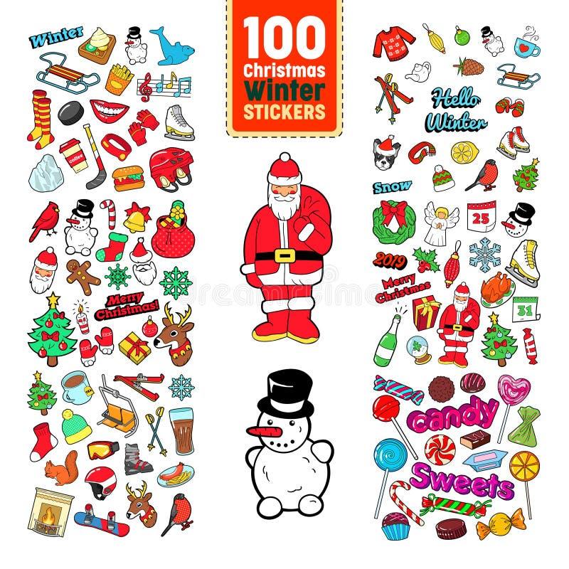 Collection d'autocollants de Chistmas Insignes, corrections, éléments avec l'arbre de Noël, Santa Claus Reindeer et bonhomme de n illustration stock