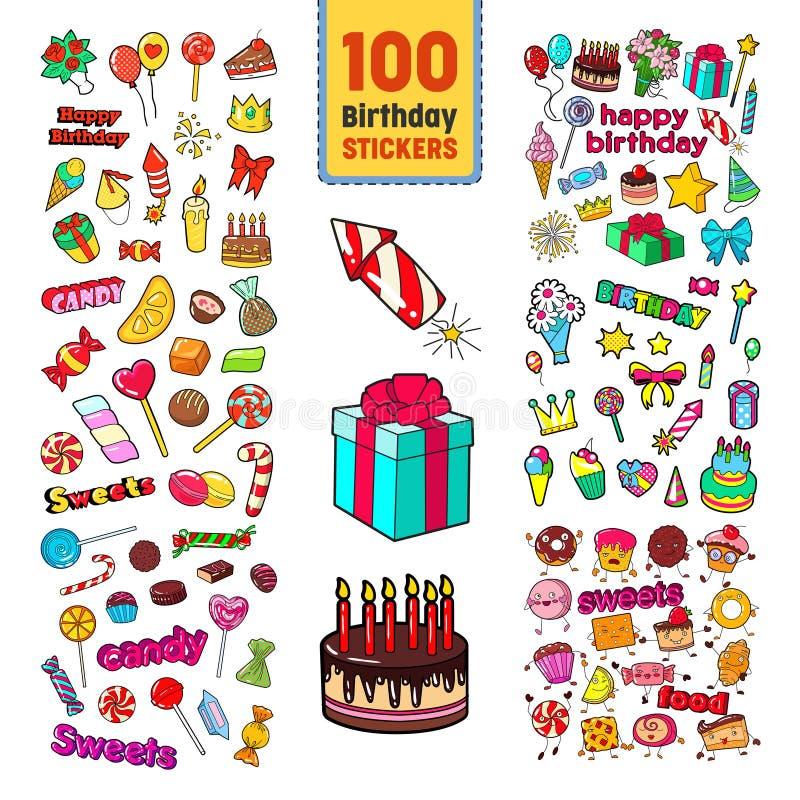 Collection d'autocollants de joyeux anniversaire Décoration puérile de partie réglée avec des ballons, des cadeaux et des bonbons illustration stock