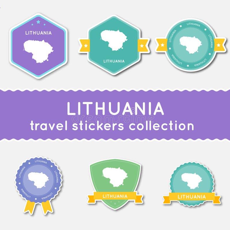 Collection d'autocollants de voyage de la Lithuanie illustration stock