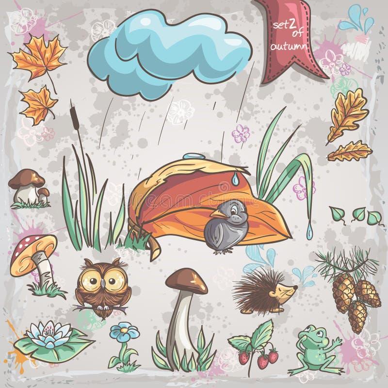 Collection d'automne avec des images des oiseaux, animaux, champignons, fleurs, cônes pour des enfants Positionnement 2 illustration libre de droits