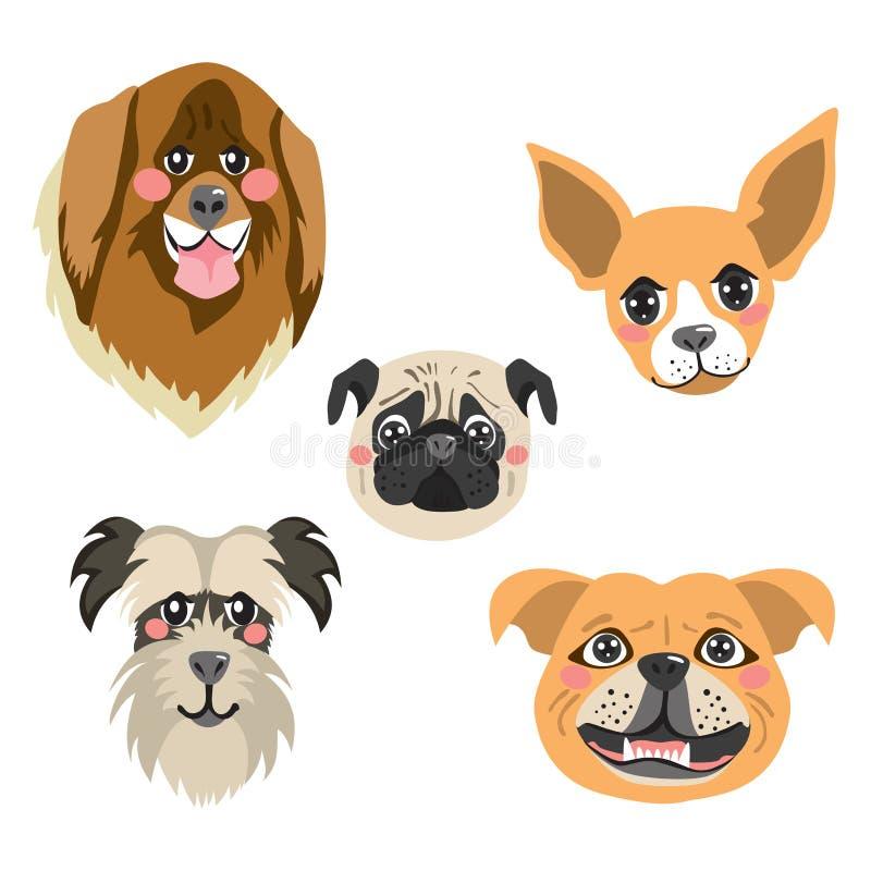 Collection d'avatar de chiens illustration de vecteur