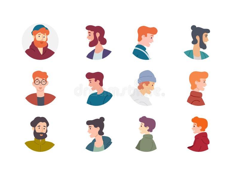 Collection d'avatar de personnes Caractères de mâles de garçons d'hommes illustration stock