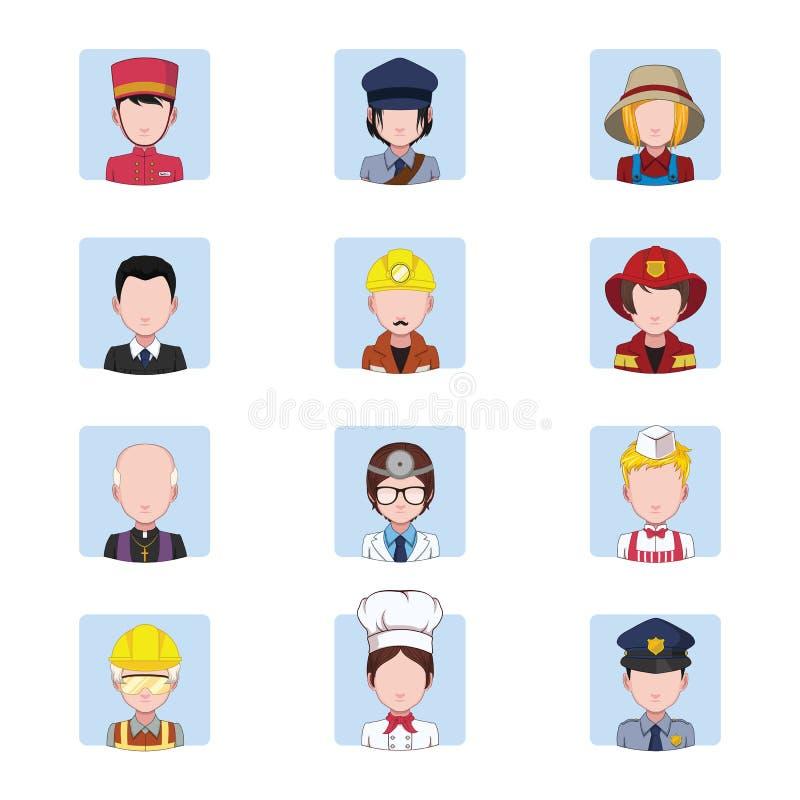 Collection d'avatars dépeignant les travaux illustration de vecteur