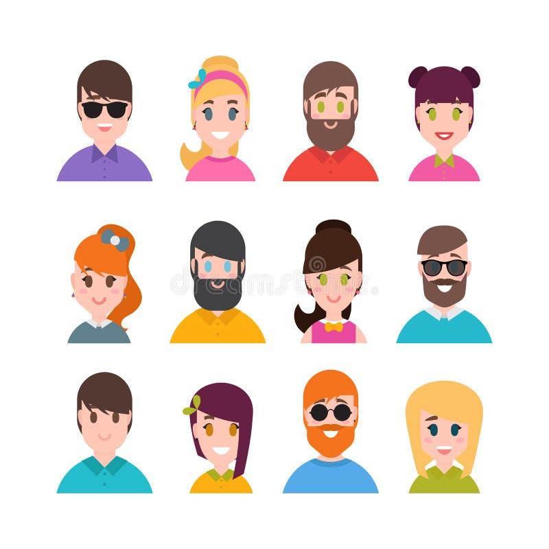 Collection d'avatars de personnes Style plat simple de bande dessinée Portraits masculins et femelles Caractères d'hommes, de gar illustration de vecteur