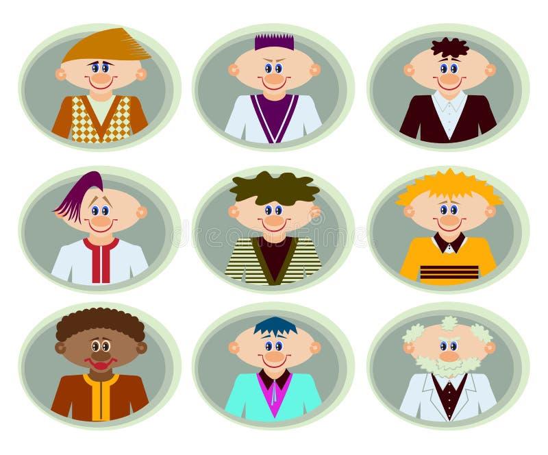 Collection d'avatars plats colorés avec l'humain différent illustration stock