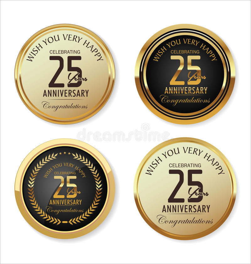 Collection d'or de label d'anniversaire, 25 ans illustration stock