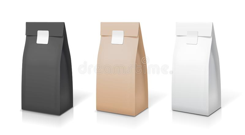 Collection d'emballage de papier de café de thé Ensemble de sac de paquet d'aluminium de nourriture Illustration de vecteur d'iso illustration stock