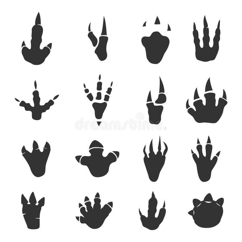 Collection d'empreintes de pas de dinosaure sur le blanc illustration de vecteur