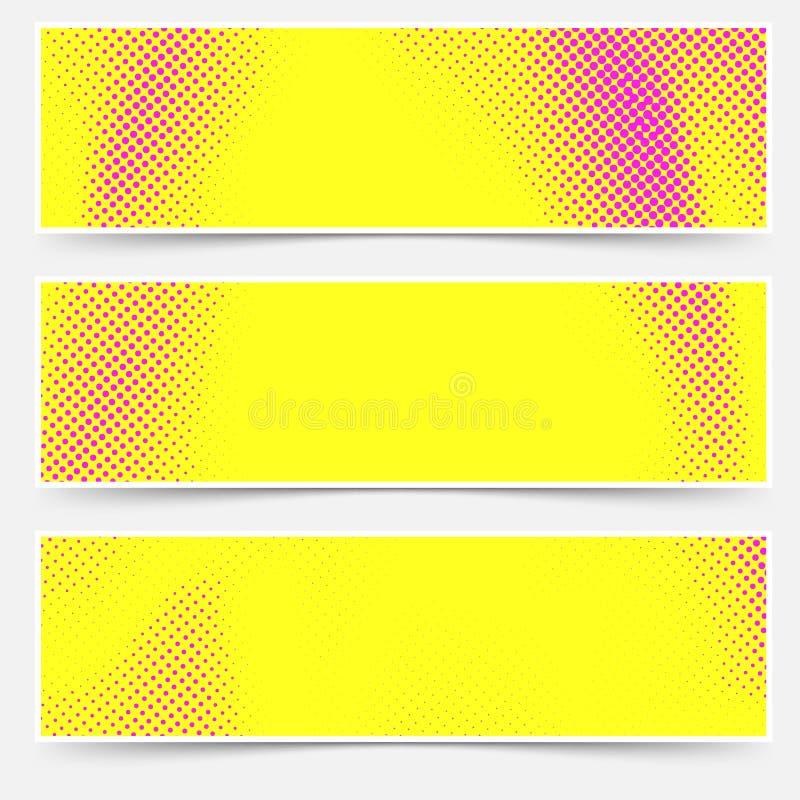 Collection d'en-têtes de style d'art de bruit dans la couleur jaune et rose illustration stock