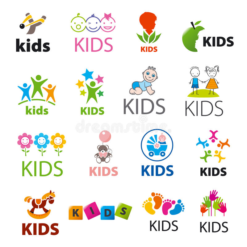 Collection d'enfants de logos de vecteur image stock