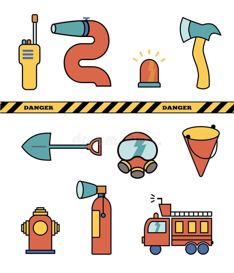 Collection d'ensemble d'éléments de sapeur-pompier, icônes d'illustration de vecteur images libres de droits