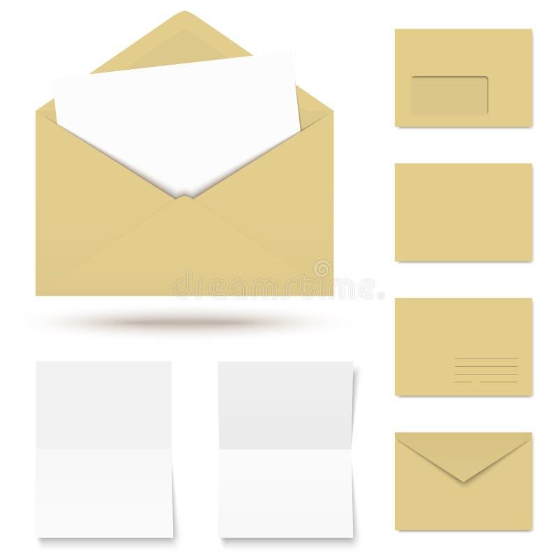 Collection d'enveloppes avec le papier à lettres illustration libre de droits