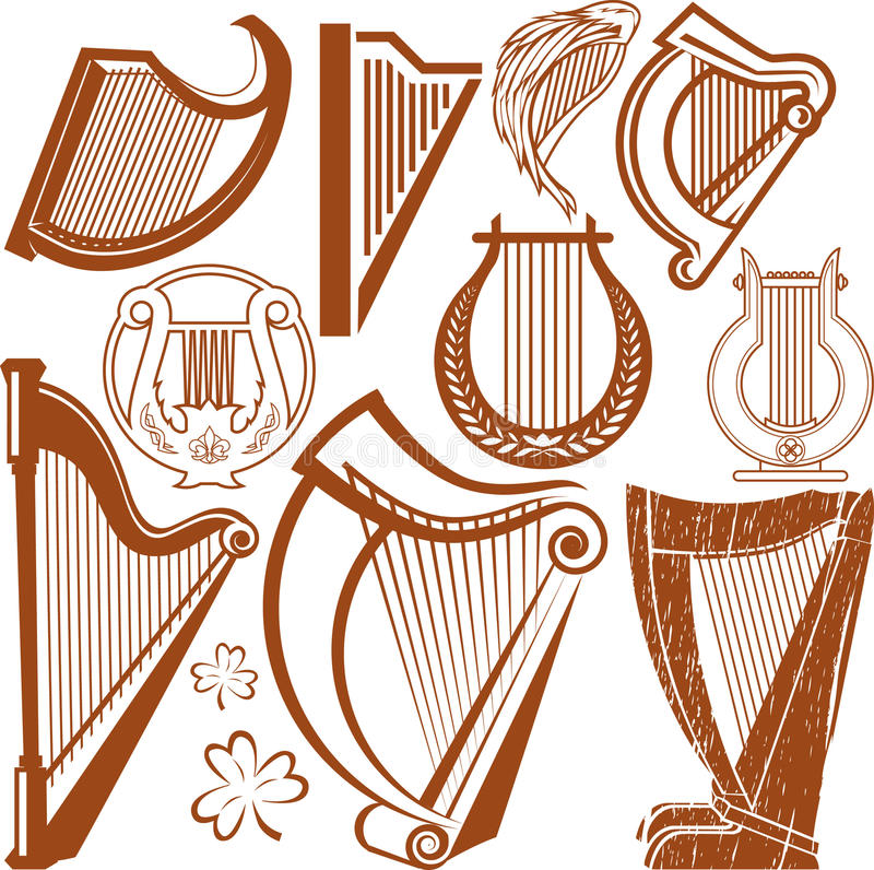 Collection d'harpe illustration de vecteur