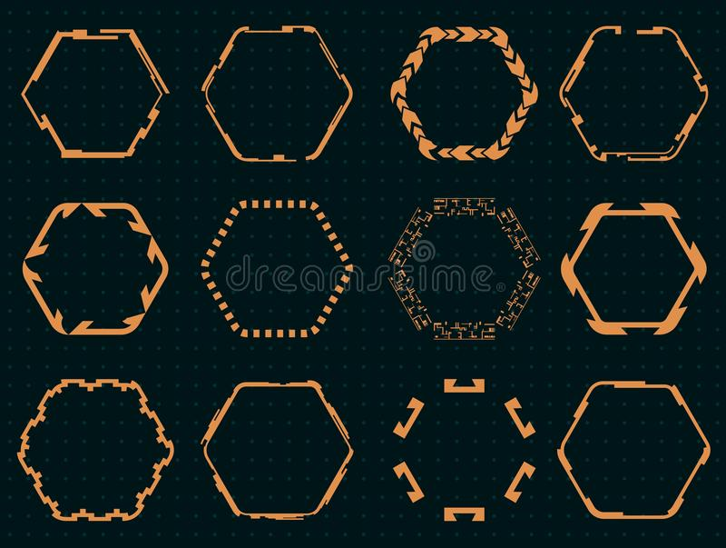 Collection d'hexagones pour l'interface de hud illustration stock
