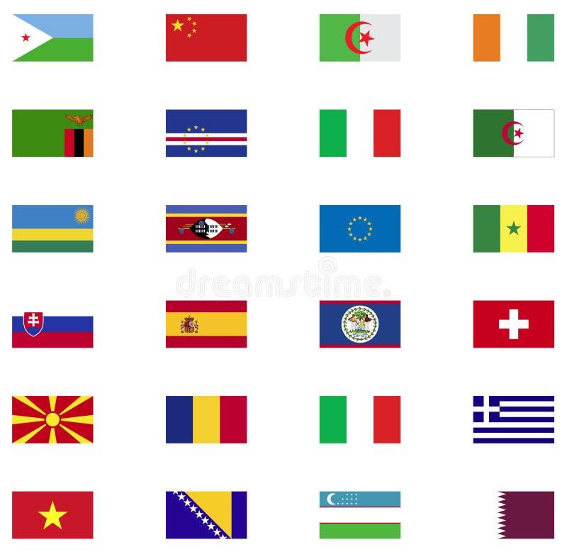 Collection d'icône de drapeau du monde illustration de vecteur