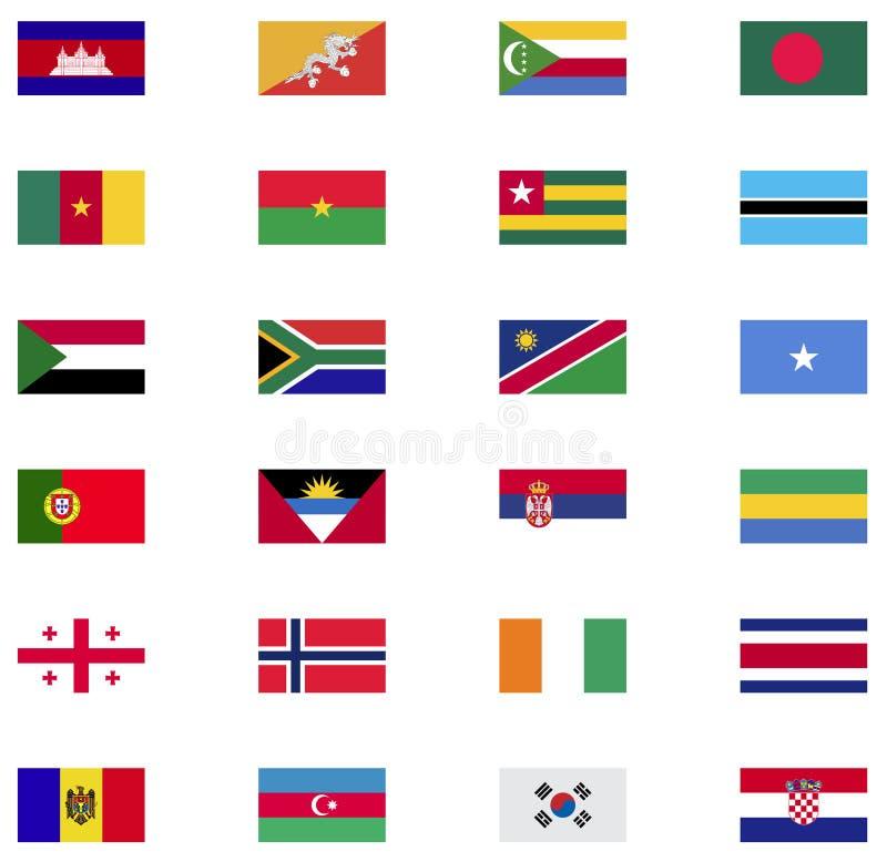 Collection d'icône de drapeau du monde illustration stock
