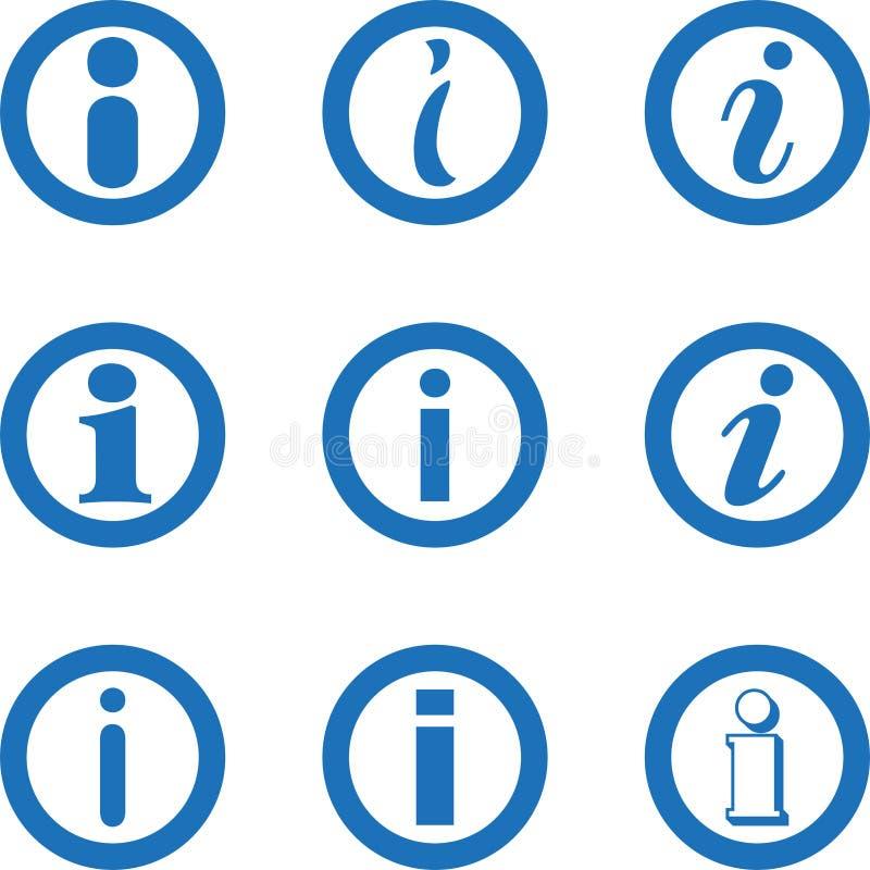 Collection d'icône de l'information, signe d'infos, icône de lettre, collection d'icône d'infos illustration stock