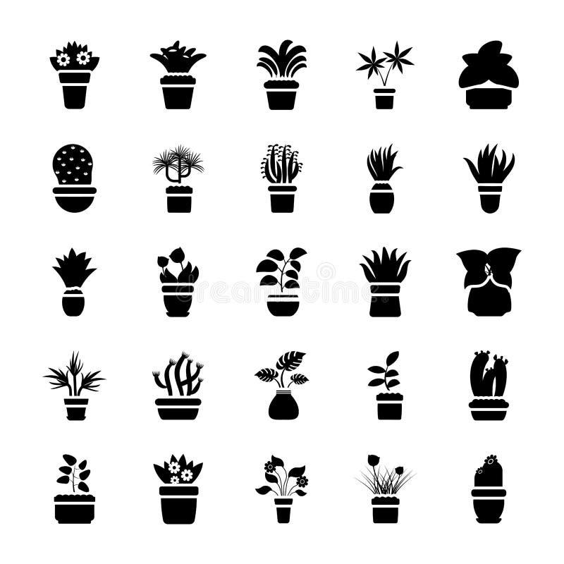 Collection d'icône de vecteur de Glyph de plantes d'intérieur illustration de vecteur