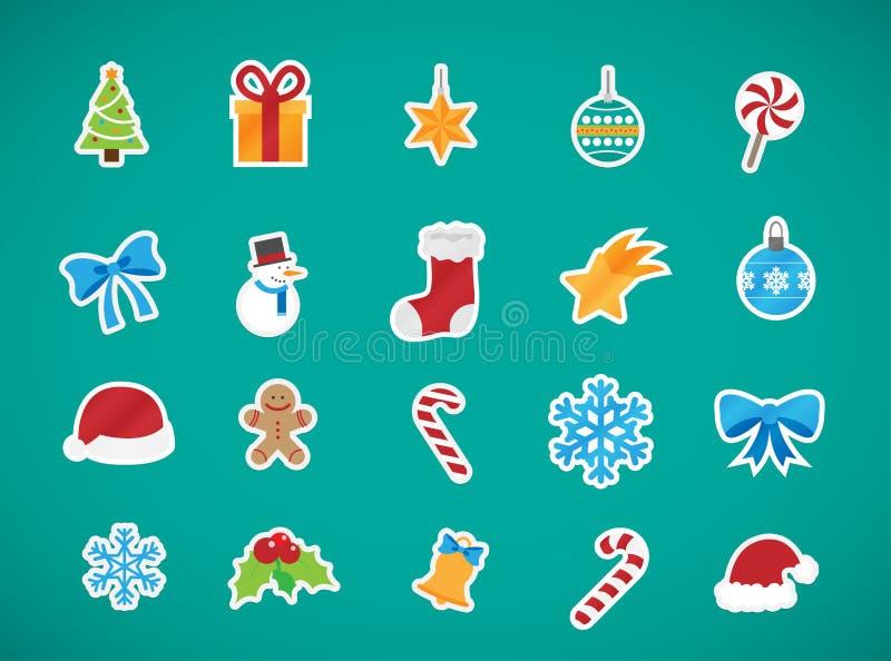 Collection d'icônes d'éléments de Noël illustration stock