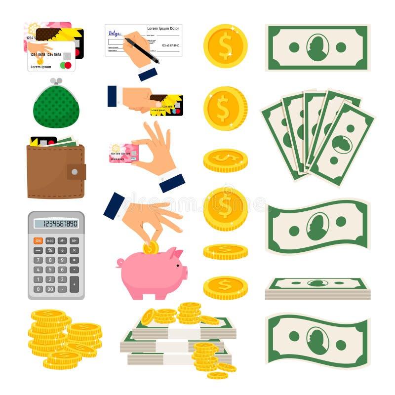 Collection d'icônes d'argent grande illustration stock