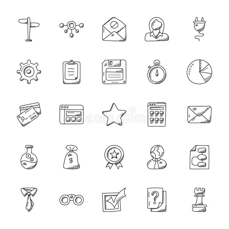 Collection d'icônes de griffonnage de bureau illustration libre de droits