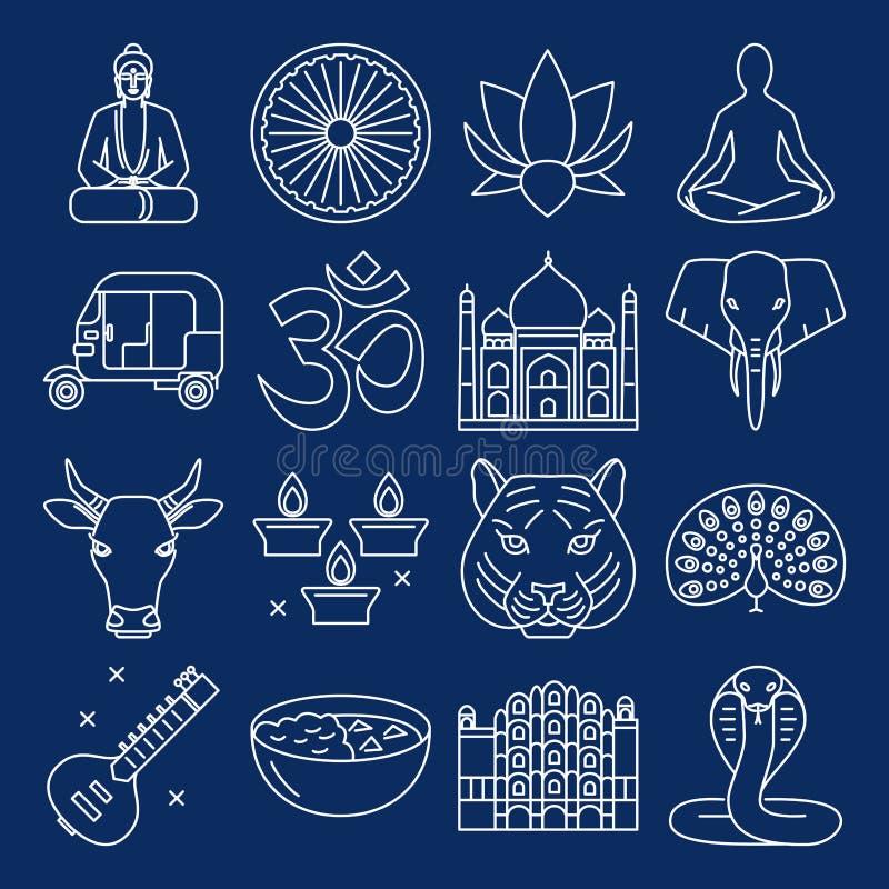 Collection d'icônes de l'Inde dans la ligne style mince illustration stock