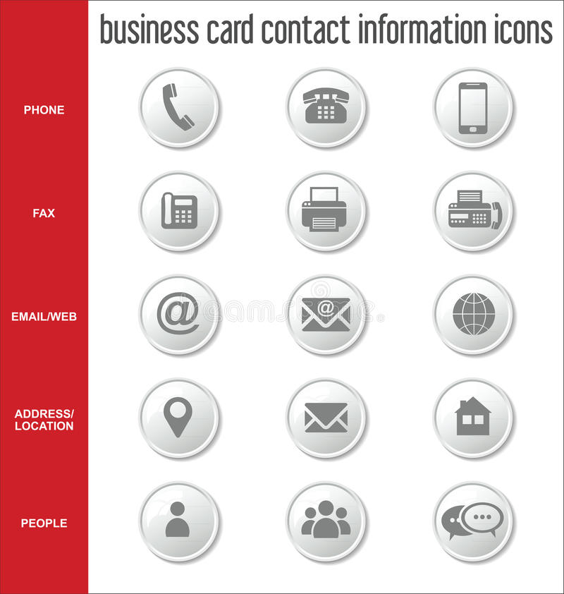 Collection d'icônes de l'information de contact de carte de visite professionnelle de visite illustration stock