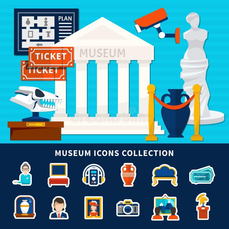 Collection d'icônes de musée illustration de vecteur