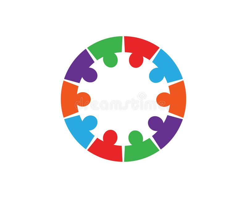 Collection d'icônes de personnes en cercle - dirigez l'engagement de concept illustration stock