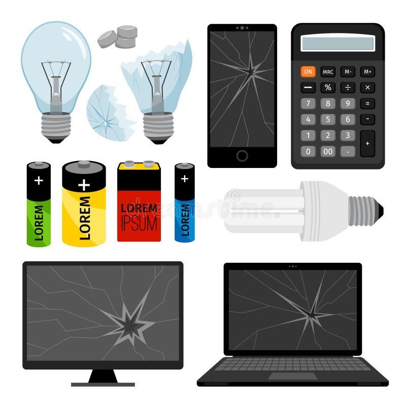collection d'icônes d'E-déchets illustration stock