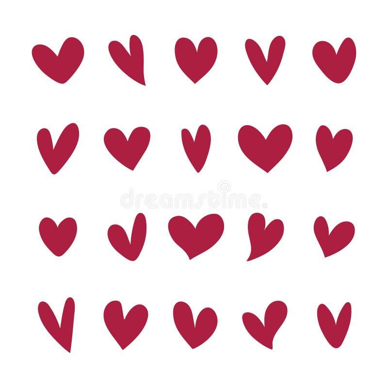 Collection d'icônes illustrées de coeur illustration stock