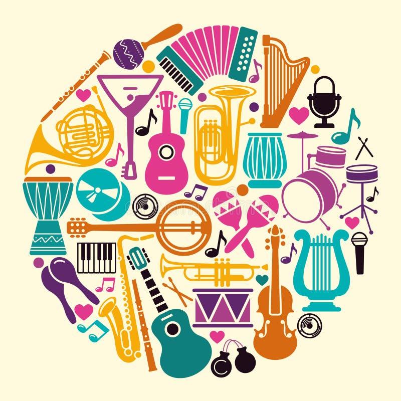Collection d'icônes d'instruments de musique sous forme de cercle illustration stock